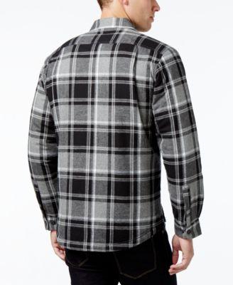 Club Room Mens Lined Plaid Shirt-Jacket