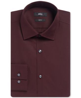 BOSS Mens Slim-Fit Two-Ply Dress Shirt