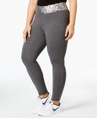 Material Girl Active Plus Size Waist Crackle Printed - Yoga Leggings, Only at Macy's