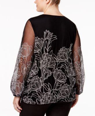 Alfani Plus Size Embroidered Blouson Top
