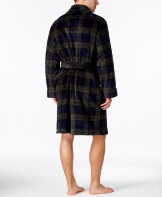 Club Room Mens Black Plaid Robe Only a..