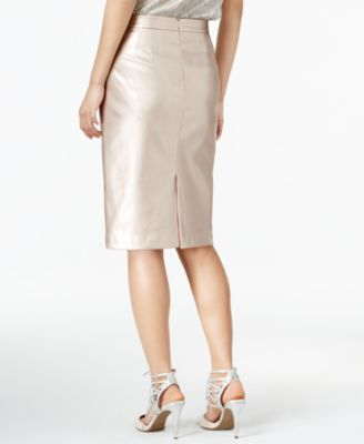 Bar III Metallic Faux-Leather Skirt