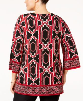 JM Collection Plus Size Geometric-Print Embellished Top