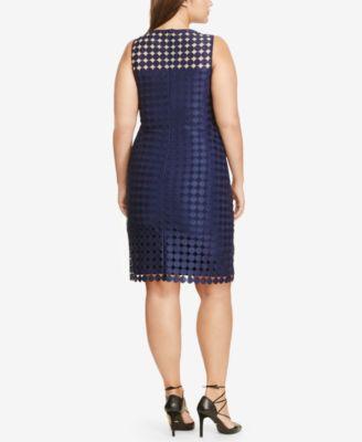 Lauren Ralph Lauren Plus Size Geometric-Lace Sheath Dress