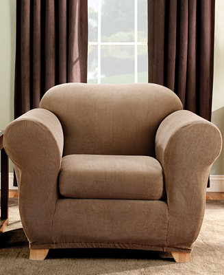 Sure fit stretch stripe 2 piece chair slipcover for Sure fit stretch slipcovers clearance