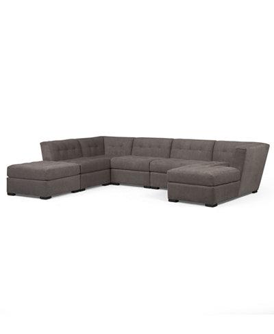 Roxanne fabric 6 piece modular sectional sofa w ottoman for Modular sectional sofa with ottoman