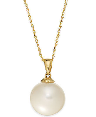 Pearl Necklace 14k Gold Cultured Freshwater Pearl Pendant