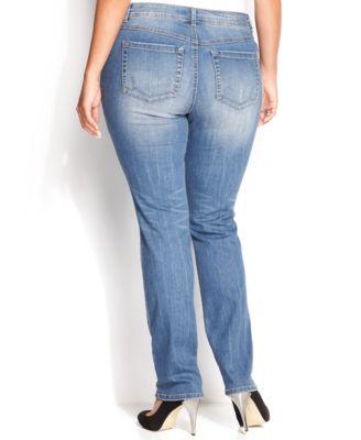 INC International Concepts Plus Size Tummy-Control Medium Wash Straight-Leg Jeans