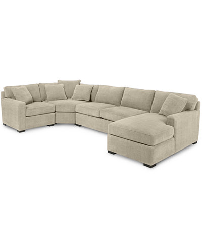 Radley 4 Piece Fabric Chaise Sectional Sofa Furniture