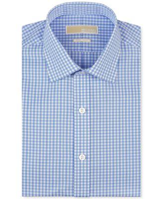 MICHAEL Michael Kors Mens Big & Tall Classic-Fit Non-Iron Blue Check Dress Shirt