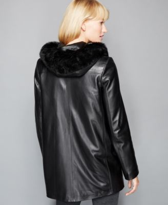 The Fur Vault Fox-Trim & Rabbit-Fur-Lining Hooded Leather Coat