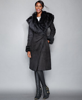 The Fur Vault Toscana Shearling Hooded Wrap Coat The Fur