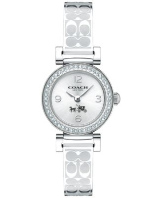 COACH WOMEN'S SIGNATURE ETCHED STAINLESS STEEL BANGLE BRACELET WATCH 24MM 14502201
