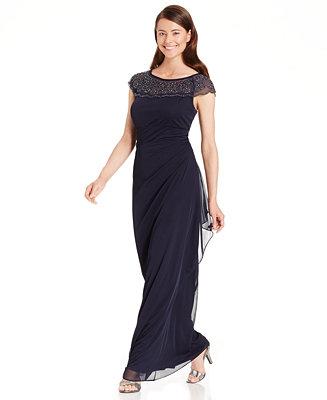 Msk Embellished Side Ruffle Gown Dresses Women Macy S
