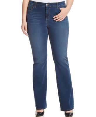 Style & Co. Plus Size Tummy-Control Marine Wash Bootcut Jeans