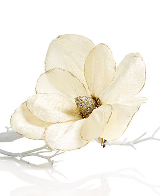 Holiday Lane Magnolia Flower Clip On Tree Ornament Only