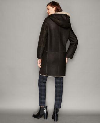 The Fur Vault Shearling Lamb Hooded Coat