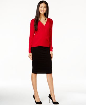 Vince Camuto Faux-Wrap Top