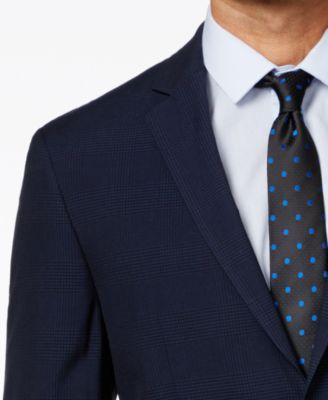 Perry Ellis Portfolio Mens Blue Plaid Slim-Fit Suit