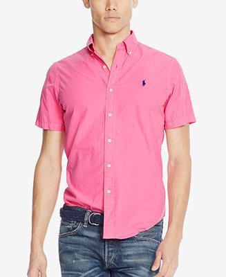 Polo ralph lauren men 39 s short sleeve silk shirt casual for Polo ralph lauren casual button down shirts