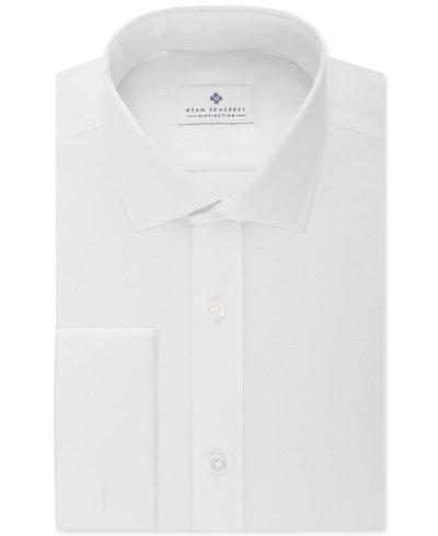 Ryan seacrest distinction slim fit non iron ultimate white White french cuff shirt slim fit