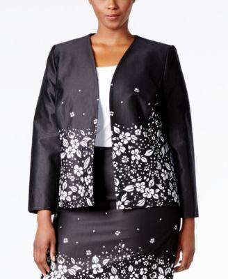Tahari ASL Plus Size Floral-Print Poplin Jacket
