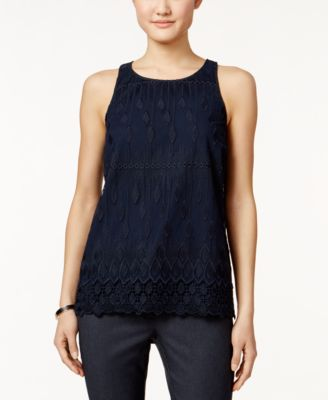 Alfani Petite Sleeveless Lace Top