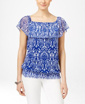 INC International Concepts Printed Off-The-Shoulder Peasant Top