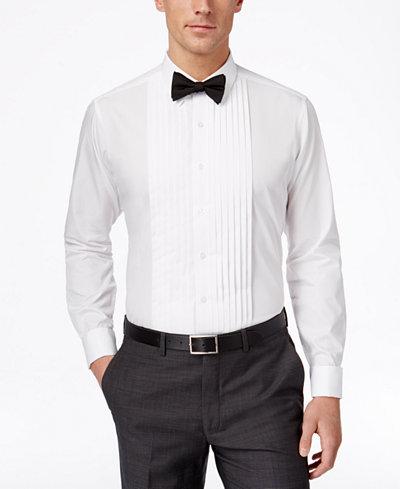 Alfani fitted french cuff tuxedo performance shirt dress for Tuxedo shirt french cuff