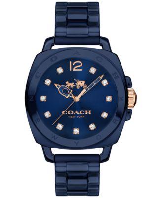 COACH Women's Boyfriend Navy Ceramic Bracelet Watch 34mm 14502502