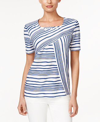 Alfred dunner st augustine collection striped beaded top for Alfred dunner wedding dresses
