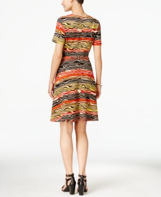 ECI Swirl-Print A-Line Dress