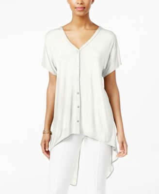 August Silk Short-Sleeve Chiffon-Back ..