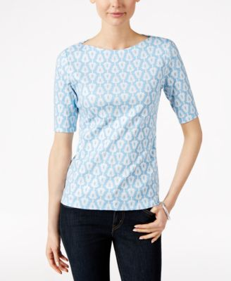 Charter Club Floral-Print Elbow-Sleeve..