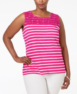 Charter Club Plus Size Striped Crocheted-Yoke Top