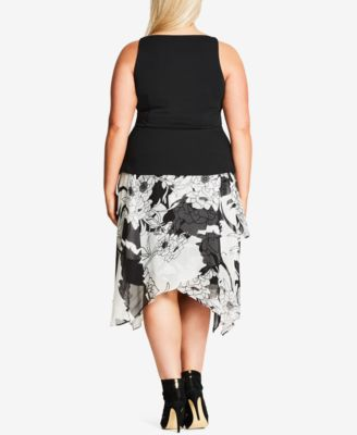 City Chic Plus Size Printed Faux-Leath..