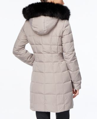Calvin Klein Faux-Fur-Trim Water Resistant Down Puffer Coat