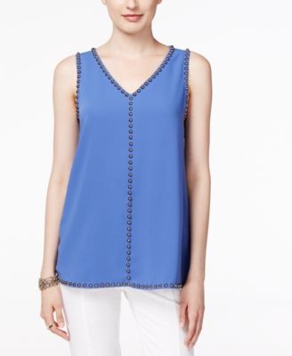 Alfani Embellished V-Neck Top