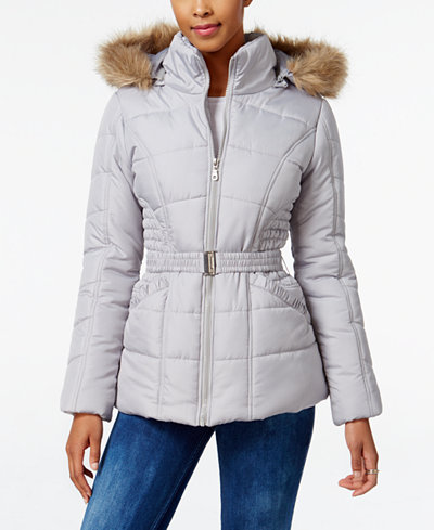 Rampage Faux Fur Trim Hooded Belted Puffer Coat Only At