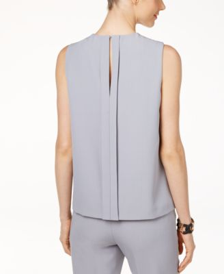 Anne Klein Pleat-Neck Sleeveless Blouse