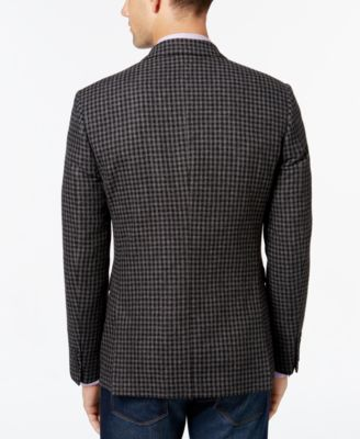 Bar III Mens Slim-Fit Gray Black Gingham Sport Coat
