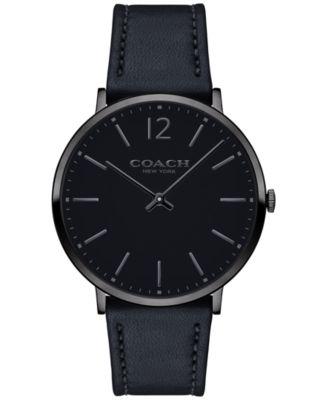COACH Men's Slim Easton Black Leather Strap Watch 40mm 14602112
