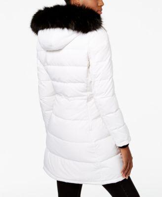 Calvin Klein Faux-Fur-Trim Quilted Puffer Coat
