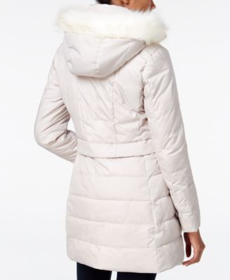 Bar III Faux-Fur-Trim Hooded Quilted Puffer Coat