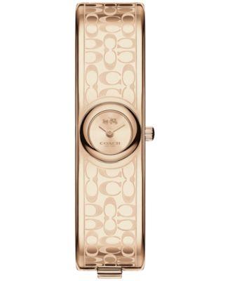 COACH Women's Scout Carnation Gold-Tone Stainless Steel Bangle Bracelet Watch 16mm 14502609