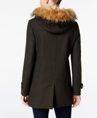 Cole Haan Faux-Fur-Trimmed Hooded Walker Coat