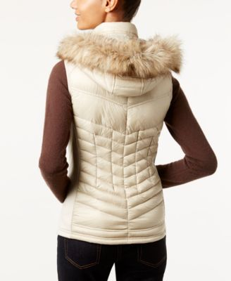 MICHAEL Michael Kors Faux-Fur-Trim Hooded Down Puffer Vest