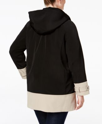 Jones New York Plus Size Hooded Water-Resistant Colorblocked Raincoat