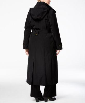 London Fog Plus Size Belted Maxi Raincoat