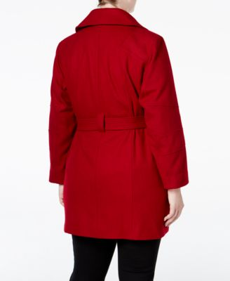 MICHAEL Michael Kors Plus Size Asymmetrical Belted Walker Coat